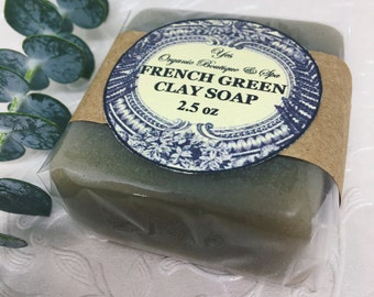 French Green Clay Soap - for All Skin Types - Cleans & Gently Exfoliates