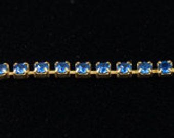 1 Foot Swarovski Rhinestone Cup Chain 14pp Capri Blue/Gold
