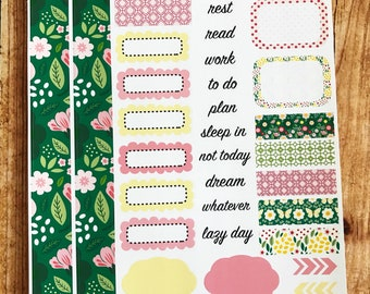 WILDFLOWER Personal Weekly Sticker Kit, Planner Stickers, Sticker Kit Sized for Erin Condren Life Planner