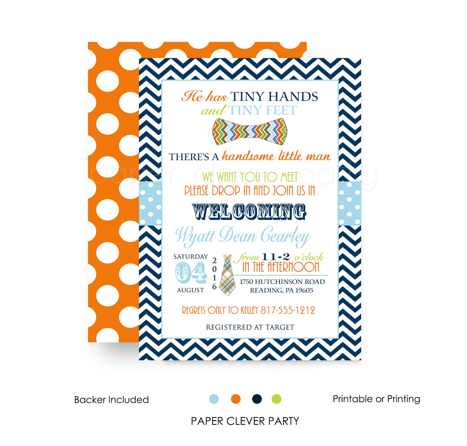 Bow tie sip see baby invitations boys navy and orange chevron shipping m4hsunfo