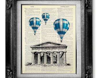 DECORATIVE Art, Wall Hanging, DICTIONARY Art Print on Dictionary Paper, Ancient Greek Art Greece Art, DICTIONARY Print, Dictionary Page Art