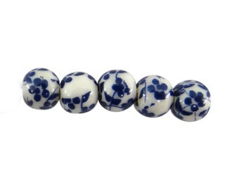 10 ceramic beads 6 mm Navy pc050 color flower pattern