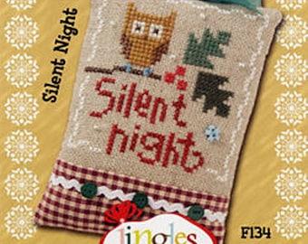 Lizzie Kate Flip-It Jingles - Silent Night F134 - Christmas Cross Stitch Pattern Chart with button, beads