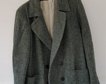 Greenish gray herringbone winter coat