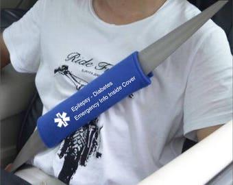 Customized Seatbelt  Cover  Medical Alert Special Needs Advertising help belt info belt seat belt