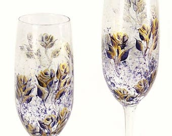 Personalized Wedding Flutes - 2 Champagne Glasses, Hand-Painted Flutes - Navy and Gold Roses Custom Retirement Gifts Wedding Toast Glass