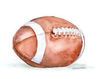 Football Watercolor Painting Giclee Reproduction 14x11 - Fine Art - Watercolor Print