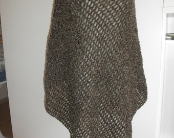 Brown melange poncho,hand crocheted blend wool oversized,warm poncho size XL,extra long