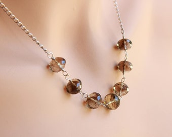 Smokey Quartz Necklace, Sterling Silver wire wrapped brown-grey gemstone, boho necklace, modern artisan necklace, holiday gift for her, 2101