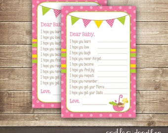 Baby Wishes Fill-in-the-Blank Card /Baby Girl Shower / Dear Baby Cards/ Animals & Umbrella Shower, Sprinkle - INSTANT DOWNLOAD - Printable