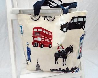 Oilcloth Tote Bag London Print, tote bag, handbag, shopping bag, waterproof