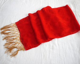 Second hand Shigoki, Japanese kimono accessory for girl, ribbon for obi, Silk, red
