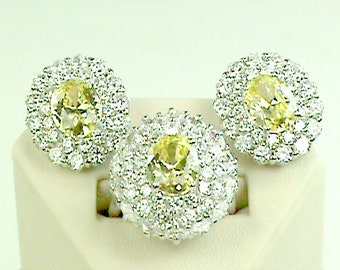 Gold Sun 3pc.925 Bling Set, Yellow N White Sterling CZ Cluster Ring & Earrings Set, Sparling 3pc 925 NOS Cocktail Set, Hollywood Big Gem 925