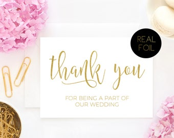 Thank You Card, Thank You For Being A Part Of Our Wedding, Wedding Thank You, Foil Card, Wedding Card, Real Foil Card, Foiled Card