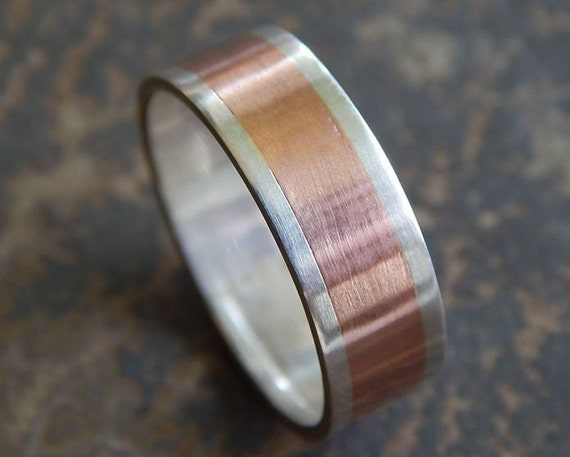 Rustic Silver Amp Copper Men S Wedding Ring