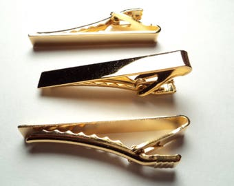 """3 pcs. - Gold plated   2""""  tie bars - tb11"""