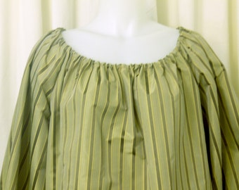 Peasant Blouse, Pirate Blouse, Renaissance Chemise, Cosplay Top in Olive & Taupe Stripe, 100% Silk Fabric, Size M
