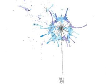 Watercolor Painting, Watercolour Dandelion Painting, ACEO Print, Flower Painting, Mini Art Print, Flower Watercolor Print, ACEO Painting
