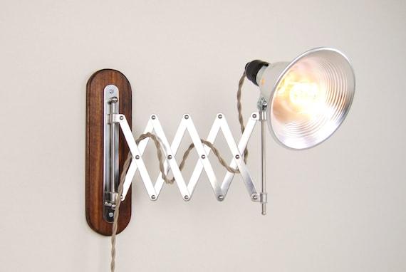 Accordion Wall Lamp With Wood Backplate 6 Metal Shade