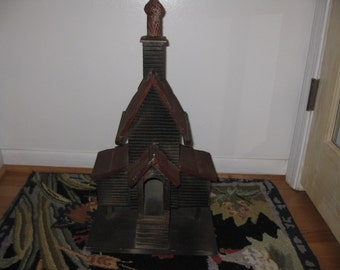 """RUSSIAN CHURCH EUROPEAN Religious Building Handmade??? Large Church Measures 22"""" To Top Of Spire Base Is 11 1/2"""" x 11 1/2"""""""