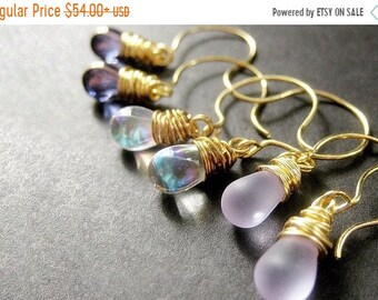 MOTHERS DAY SALE Teardrop Earrings Set of Three, Wire Wrapped Earrings, Gold. Lavender Collection. Handmade Earrings.