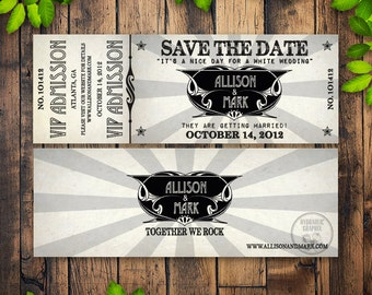 Printable Concert Ticket Wedding Save The Date With VIP Admission For Rock Music Theme Invitation
