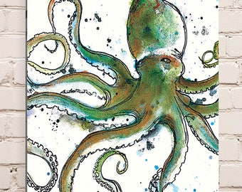 Wood Mounted Octopus Print