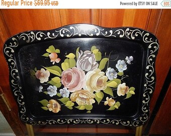 Folding Table Metal TV Tray Antique E T Nash Toleware Hand Painted Black and Gold Metal Tray Pink Roses Victorian Flowers Vintage Home Decor