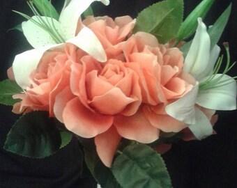 Pink and White Silk Flower Bouquet