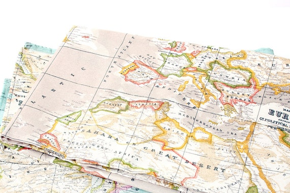 Beige worldmap fabric cotton polyester made in spain gumiabroncs Gallery