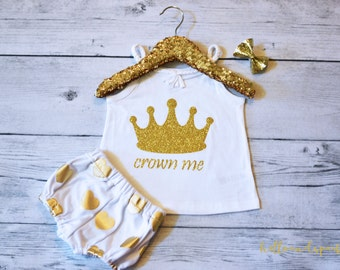 Gold Glitter Birthday Shirt, Crown Me Infant Top