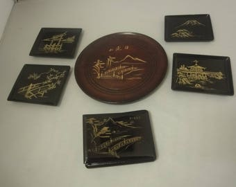 Japanese Coasters+ card Case    in black lacquer   6pcs