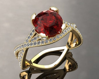 Ruby Engagement Ring 1.50 Carat Ruby And Diamond Ring In 14k or 18k Yellow Gold Style Number SW4RUBYY