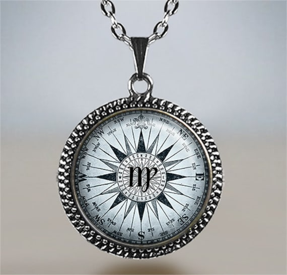Virgo compass zodiac pendant virgo necklace virgo pendant mozeypictures Gallery