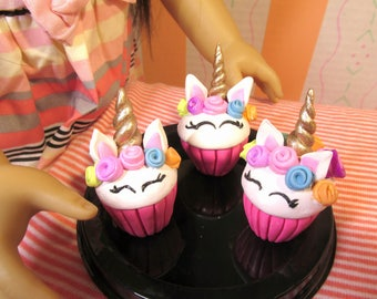 "American Food 18"" Girl Doll: Unicorn Cupcake 18 inch Doll Bakery Food, Doll Accessory, 18 inch Doll Unicorn Accessory, Doll Dessert Food"