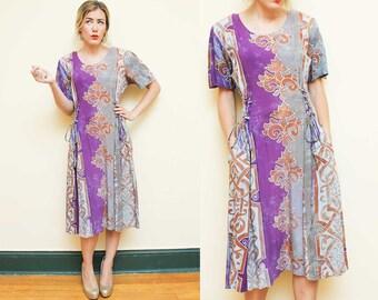 Hippie Dress // Tie Dye Boho Dress // 90s Side Corset Short Sleeve Flowy Bohemian Rayon Colorful Dress Size Medium