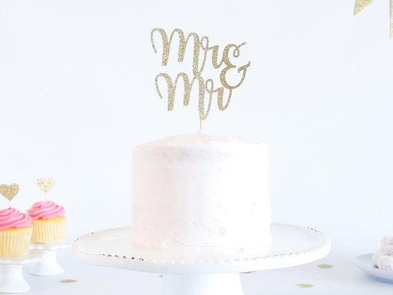 Mr & Mr Cake Topper - Glitter - Wedding Cake Topper. Engagement Party. Mr and Mr. Mr and Mr Cake Topper. Cake Toppers for Wedding.