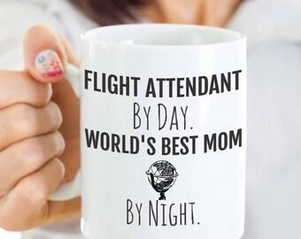 Flight Attendant Mom Coffee Mug - Flight Attendant Mug - Flight Attendant By Day, World's Best Mom By Night - Birthday, Mother's Day Gift