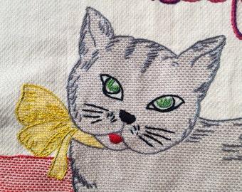 Sex Kitten, Modern Tapestry, Hand Embroidered, Textile art, Girlfriend Gift, Birthday gift, Boho Bedroom, Cat Art
