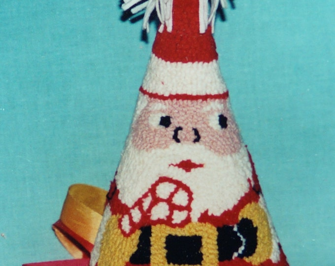 Rug Hooking Kit Santa Cone on burlap