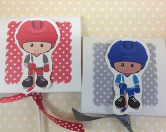 Boys Hockey Party Lollipop Favors - Set of 10