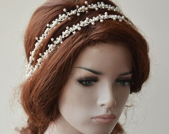 Bridal Headpiece, Pearl Double Headband, Pearl Headpiece,  Wedding Headband, Bridal Hair Accessories, Hair Accessories for Wedding
