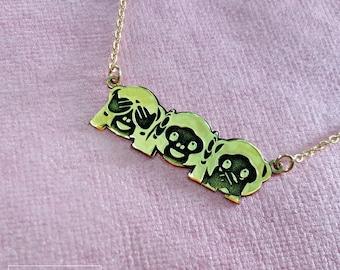 Emoji Monkey Necklace, Emoji Necklace, Emoji Jewelry, Emojis Jewellery, Three Monkeys Necklace, See No Evil, Hear No Evil, Speak No Evil