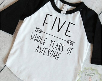 Fifth Birthday Boy Shirt 5th Birthday Boy Outfit Fifth Birthday Boy Birthday Shirt Boy Fifth Birthday Outfit Five Years of Awesome 252