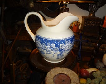 Mason's made exclusively for Crabtree & Evelyn ironstone blue and white rose pitcher
