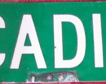 VINTAGE STREET SIGN, Arcadia Dr, double sided, enameled metal, paint, decor, industrial, shabby