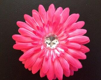 4 Inch Hot Pink Gerber Daisy Hair Clip