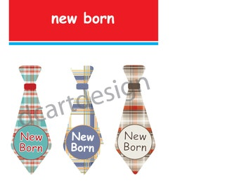 Printable Plaid New Born Baby Tie Stickers. INSTANT DOWNLOAD