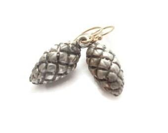 Raffia Seed Pod Earrings, Large Silver Drops, Oxidized Silver Botanical Jeweltry     Artisan Handmade by Sheri Beryl
