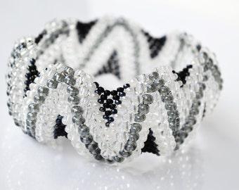 Beaded Cuff bracelet, Black White, Freeform Beaded Bracelet